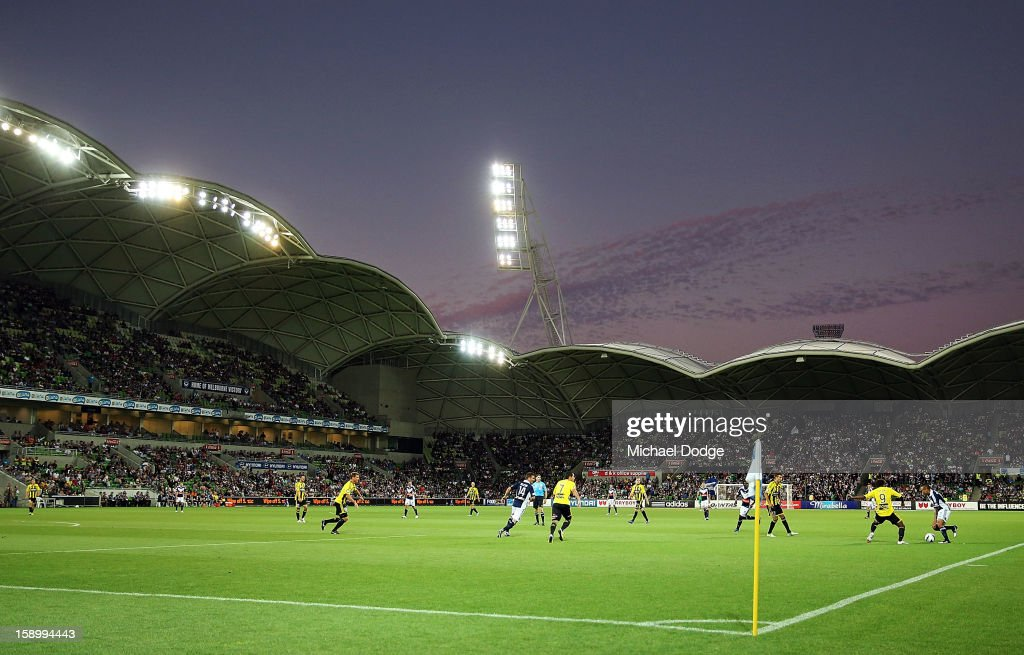 A general view of the stadium as Archie Thompson of the Melbourne Victory controls the ball during the round 15 A-League match between the Melbourne Victory and Wellington Phoenix at AAMI Park on January 5, 2013 in Melbourne, Australia.