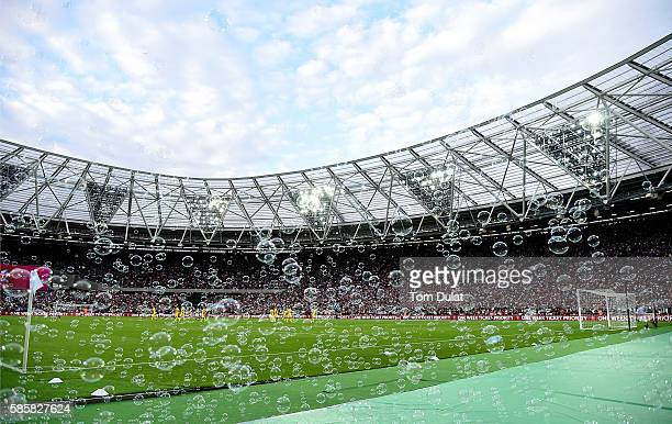 A general view of the stadium as bubbles are blown prior to the UEFA Europa League Qualification round match between West Ham United and NK Domzale...