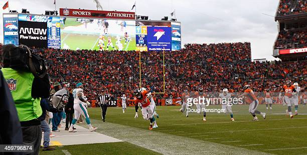 General view of the stadium as cornerback Bradley Roby of the Denver Broncos is forced out of bounds after an interception at Sports Authority Field...