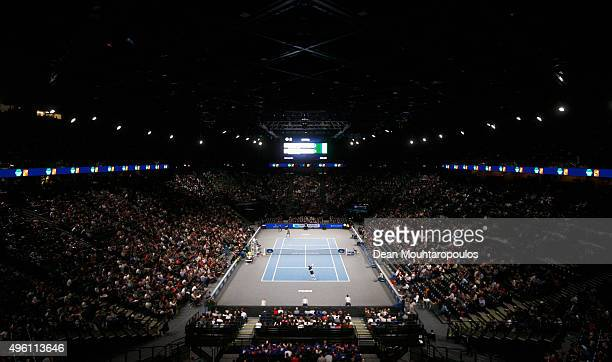 A general view of the stadium as David Ferrer of Spain and Andy Murray of Great Britain compete in their semi final match during Day 6 of the BNP...