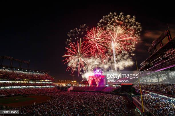 A general view of the stadium as fans enjoy a fireworks display after the Cincinnati Reds 81 win against the Colorado Rockies at Coors Field on July...