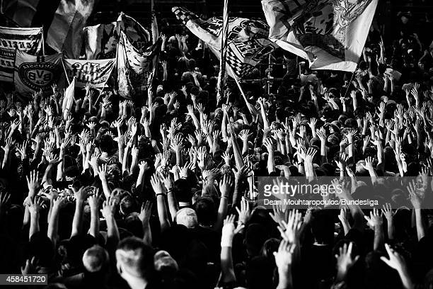 A general view of the stadium as fans watch the action and gesture to goalkeeper Jaroslav Drobny of Hamburg during the Bundesliga match between...