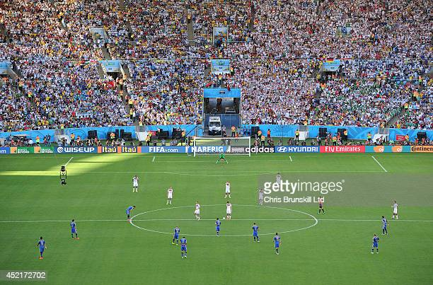 A general view of the stadium as Germany wait to kickoff during the 2014 World Cup Final match between Germany and Argentina at Maracana Stadium on...