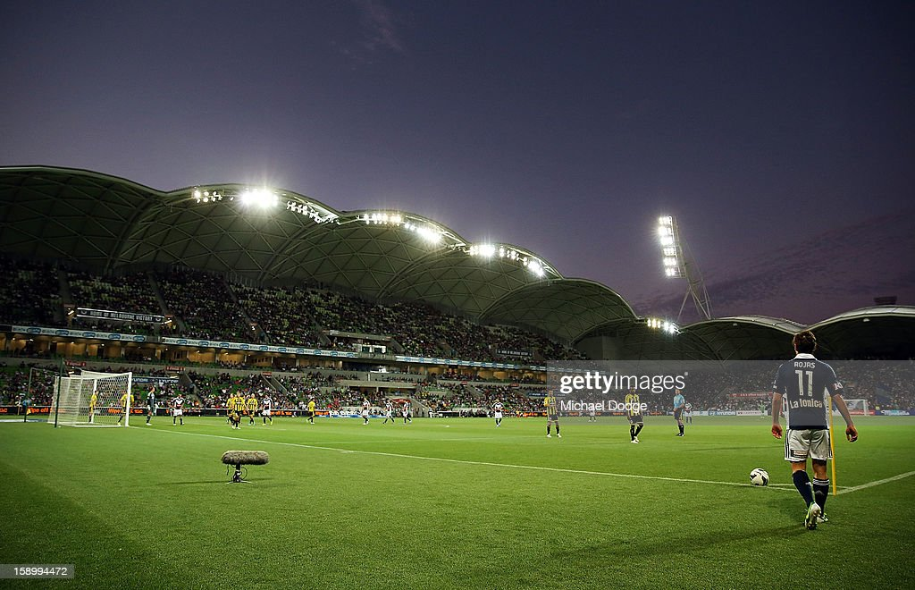 A general view of the stadium as Marco Rojas of the Melbourne Victory gets ready to take a penalty corner during the round 15 A-League match between the Melbourne Victory and Wellington Phoenix at AAMI Park on January 5, 2013 in Melbourne, Australia.