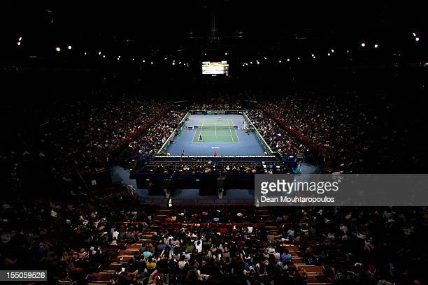 A general view of the stadium as Paul Henri Mathieu of France plays a match against Andy Murray of Great Britain during day 3 of the BNP Paribas...