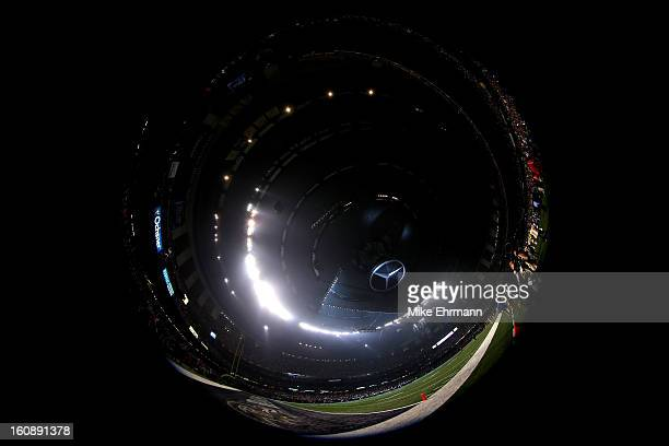 A general view of the stadium as play was suspended for 34 minutes in the third quarter due to a power outage during Super Bowl XLVII between the...