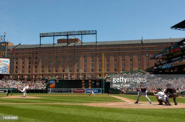 General View of the stadium as Steve Trachsel of the Baltimore Orioles pitches to Grady Sizemore of the Cleveland Indians on May 7 2007 at Oriole...