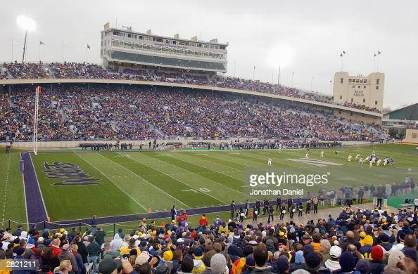 A general view of the stadium as the crowd of 40681 watches the game between Michigan and Northwestern on November 15 2003 at Ryan Field at...