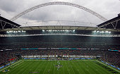 A general view of the stadium as the match kicks off during the NFL match between the Oakland Raiders and the Miami Dolphins at Wembley Stadium on...