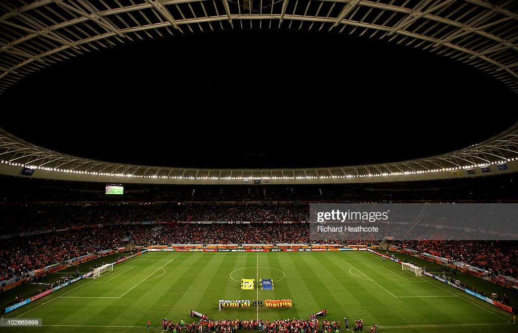 A general view of the stadium as the national anthems are played during the 2010 FIFA World Cup South Africa Semi Final match between Uruguay and the...
