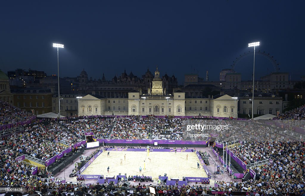 General view of the stadium at dusk during the Women's Beach Volleyball Gold medal match against the United States on Day 12 of the London 2012 Olympic Games at the Horse Guard's Parade on August 8, 2012 in London, England.