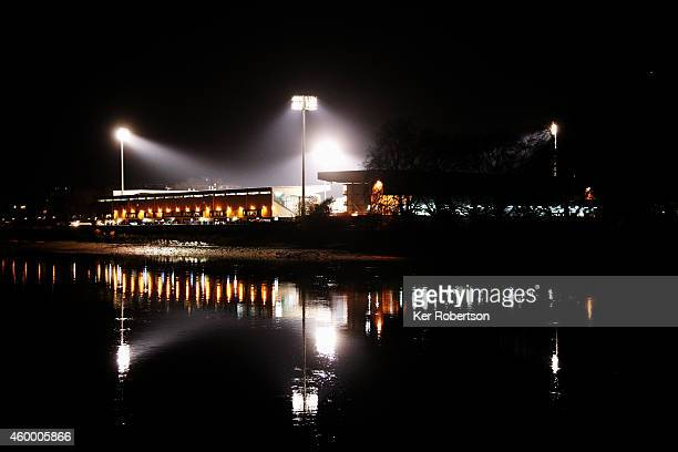General view of the stadium at night from the opposite bank of the River Thames before the Sky Bet Championship match between Fulham and Watford at...