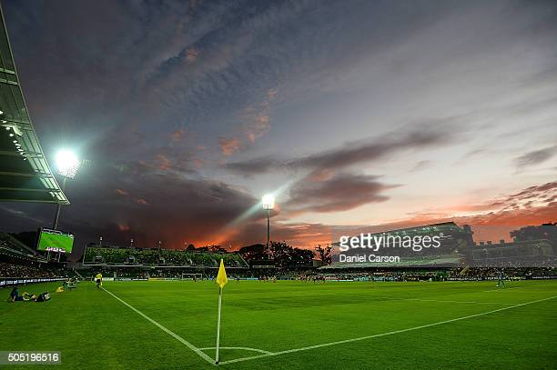 A general view of the stadium at sunset during the round 15 ALeague match between Perth Glory and Melbourne City FC at nib Stadium on January 16 2016...