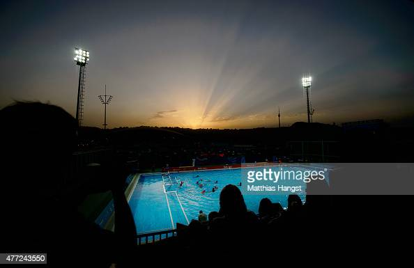 General view of the stadium at sunset during the Womens' Water Polo Group A match between the Netherlands an Hungary on day three of the Baku 2015...