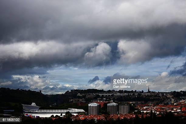 A general view of the stadium backdropped by Isambard Kingdom Brunel's Clifton Suspension Bridge before the Sky Bet Championship match between...