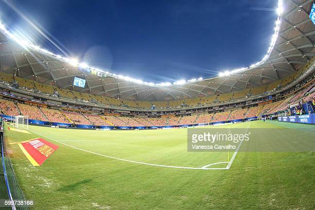 A general view of the stadium before a match between Brazil and Colombia as part of FIFA 2018 World Cup Qualifiers at Arena Amazonia Stadium on...