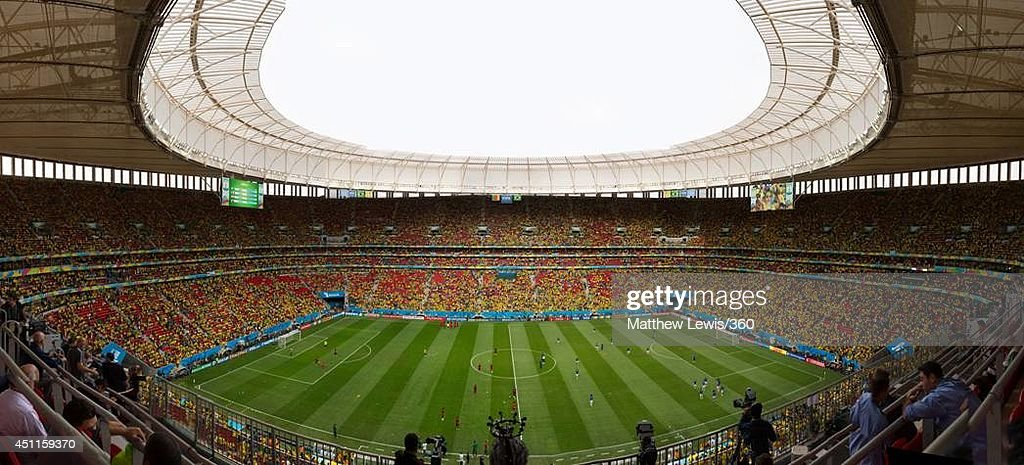 A general view of the stadium before the 2014 FIFA World Cup Brazil Group A match between Cameroon and Brazil at Estadio Nacional on June 23, 2014 in Brasilia, Brazil.