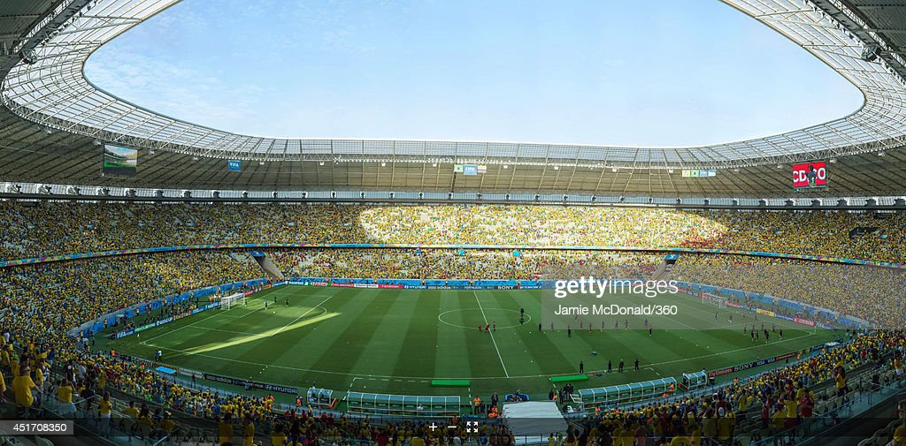 A general view of the stadium before the 2014 FIFA World Cup Brazil Quarter Final match between Brazil and Colombia at Castelao on July 4, 2014 in Fortaleza, Brazil.