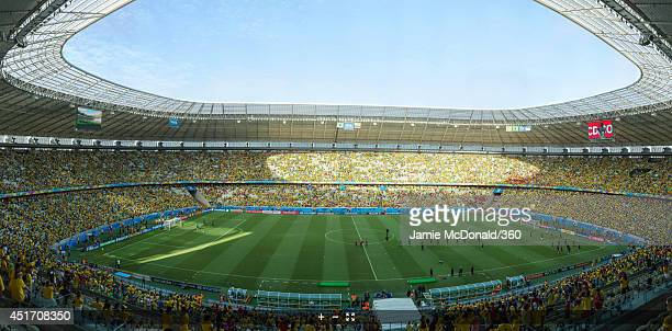 A general view of the stadium before the 2014 FIFA World Cup Brazil Quarter Final match between Brazil and Colombia at Castelao on July 4 2014 in...