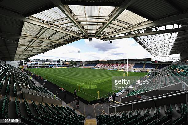 A general view of the stadium before the Aviva Premiership match between Northampton Saints and Exeter Chiefs at Franklin's Gardens on September 7...