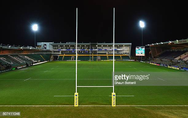 A general view of the stadium before the Aviva Premiership match between Northampton Saints and Wasps at Franklin's Gardens on January 29 2016 in...