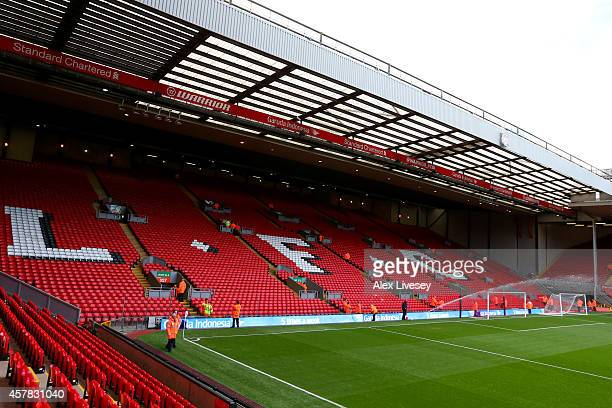 A general view of the stadium before the Barclays Premier League match between Liverpool and Hull City at Anfield on October 25 2014 in Liverpool...