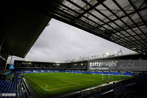 A general view of the stadium before the Barclays Premier League match between Everton and Tottenham Hotspur at Goodison Park on January 3 2016 in...