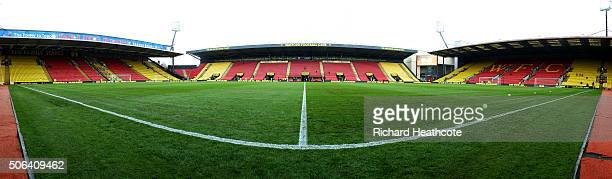 A general view of the stadium before the Barclays Premier League match between Watford and Newcastle United at Vicarage Road on January 23 2016 in...
