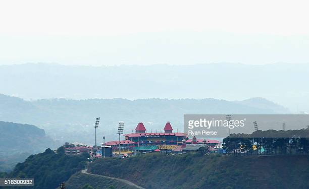 A general view of the stadium before the ICC World Twenty20 India 2016 Super 10s Group 2 match between Australia and New Zealand at HPCA Stadium on...