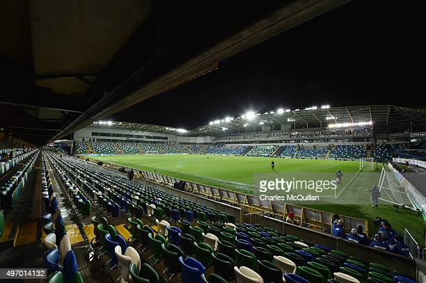 A general view of the stadium before the international football friendly between Northern Ireland and Latvia at Windsor Park on November 13 2015 in...
