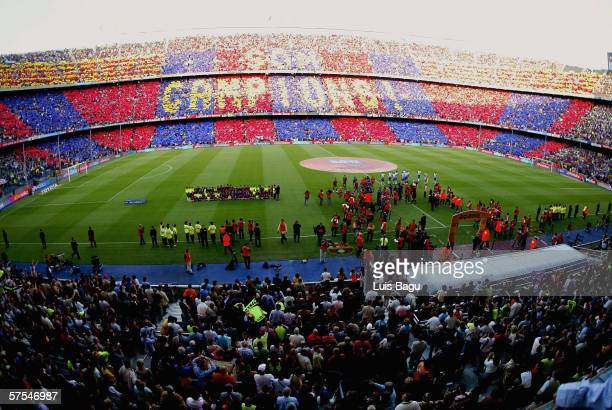 A general view of the stadium before the La Liga match between FC Barcelona and Espanyol on May 6 played at the Camp Nou stadium in Barcelona Spain
