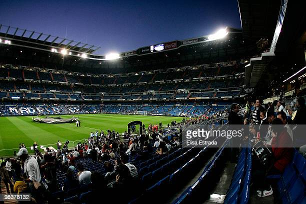 A general view of the stadium before the La Liga match between Real Madrid and Barcelona at Estadio Santiago Bernabeu on April 10 2010 in Madrid Spain