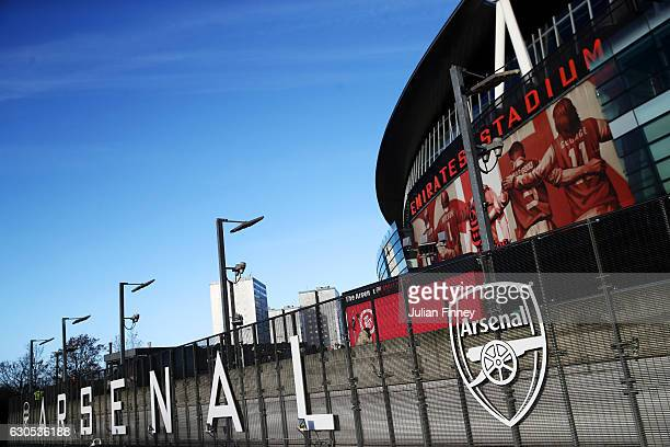 A general view of the stadium before the Premier League match between Arsenal and West Bromwich Albion at Emirates Stadium on December 26 2016 in...