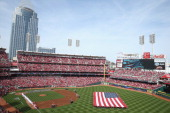 A general view of the stadium before the St Louis Cardinals game against the Cincinnati Reds on Opening Day for both teams at Great American Ball...