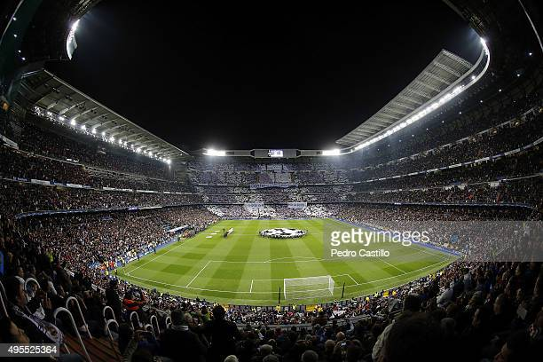 A general view of the stadium before the UEFA Champions League Group A match between Real Madrid and Paris SaintGermain at Estadio Santiago Bernabeu...