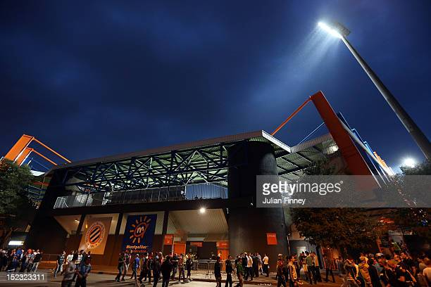A general view of the stadium before the UEFA Champions League match between Montpellier Herault SC and Arsenal at Stade de la Mosson on September 18...