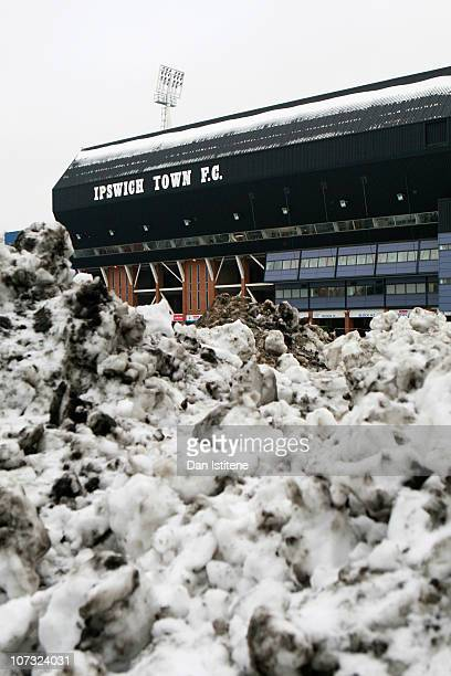 A general view of the stadium behind cleared snow ahead of the npower Championship match between Ipswich Town and Swansea City at Portman Road on...