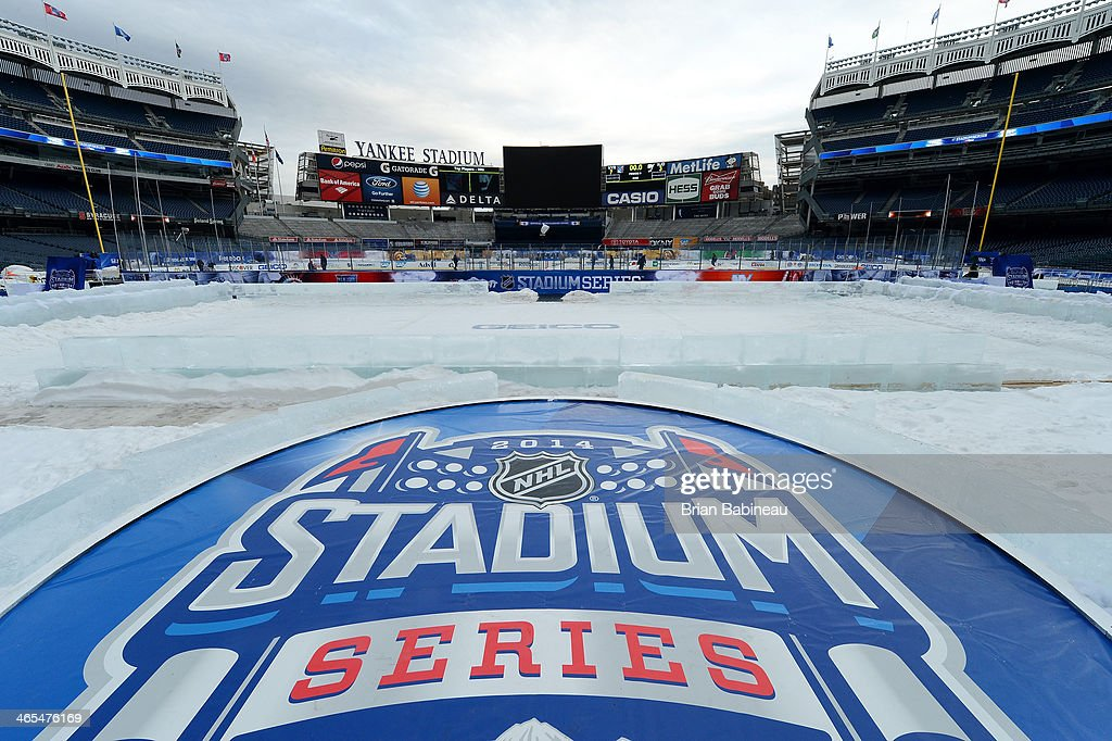 A general view of the stadium being built out prior to the 2014 NHL Stadium Series at Yankee Stadium on January 27, 2014 in New York City.