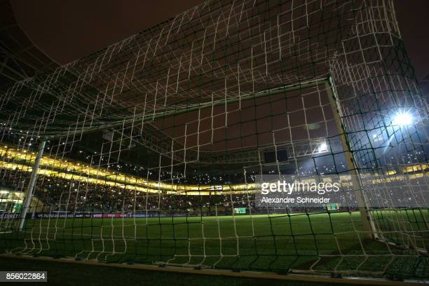 General view of the stadium during a blackout before the match between Palmeiras and Santos for the Brasileirao Series A 2017 at Allianz Parque...