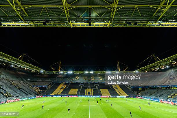 General view of the stadium during a training session ahead of their Champions League match against Borussia Dortmund at Signal Iduna Park on...