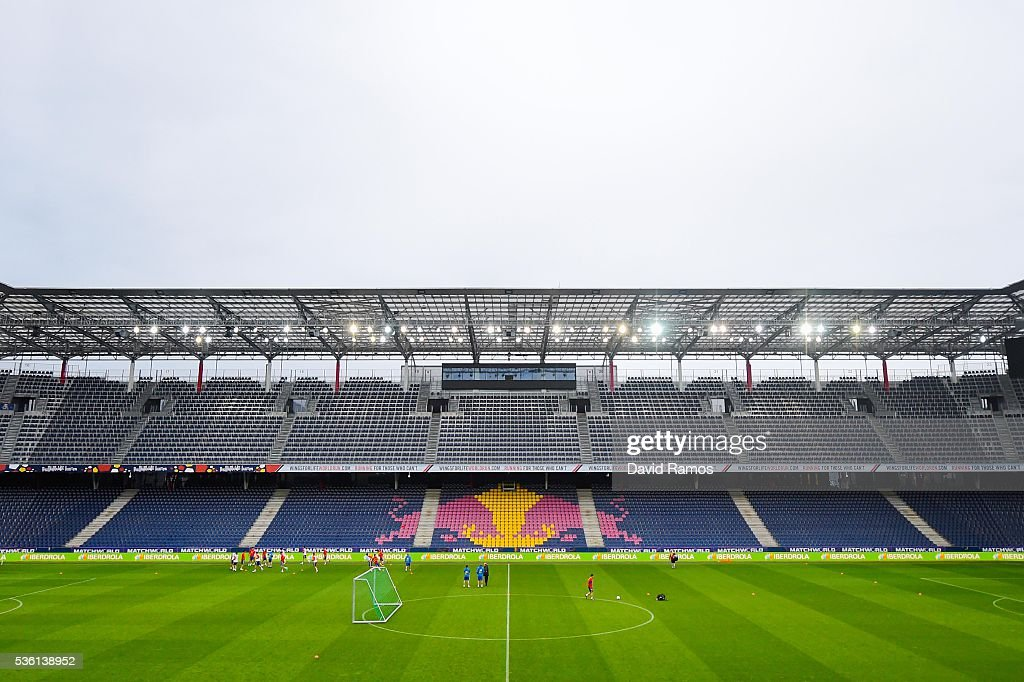 A general view of the stadium during a training session at the Red Bull Arena stadium on May 31, 2016 in Salzburg, Austria.