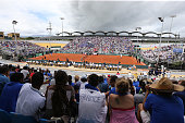 General view of the stadium during day 1 of the Davis Cup World Group first round tie between France and Canada at Stade Velodrome Amedee Detraux on...