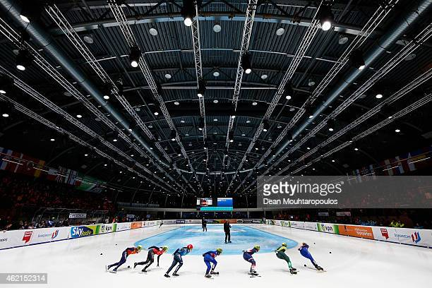 A general view of the stadium during day 3 of the ISU European Short Track Speed Skating Championships at The Sportboulevard on January 25 2015 in...