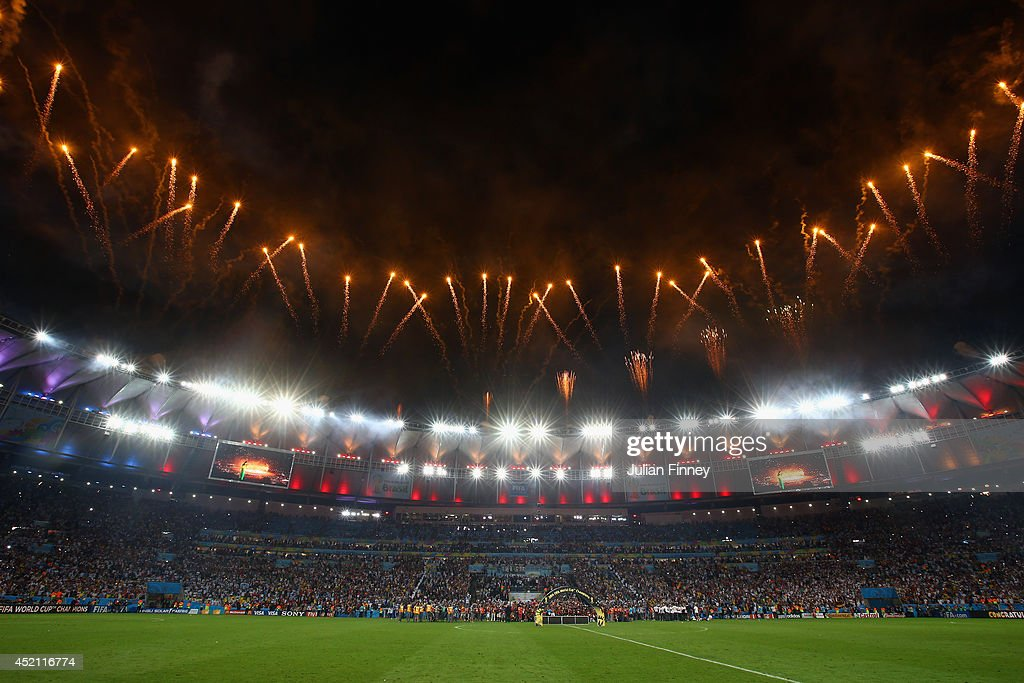 A general view of the stadium during fireworks in the 2014 FIFA World Cup Brazil Final match between Germany and Argentina at Maracana on July 13...
