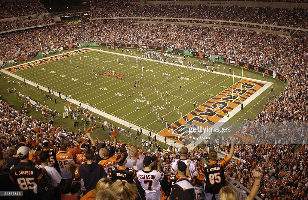 General view of the stadium during player introductions before the game between the Miami Dolphins and the Cincinnati Bengals on September 19 2004 at...