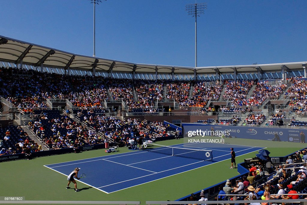 General view of the stadium during showing Caroline Wozniacki of Denmark and Taylor Townsend of the US at the 2016 US Open Women's Singles Round 1...