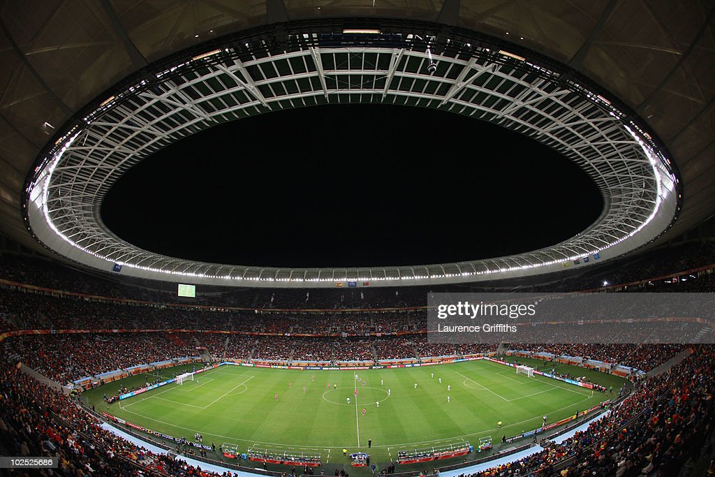 A general view of the stadium during the 2010 FIFA World Cup South Africa Round of Sixteen match between Spain and Portugal at Green Point Stadium on...