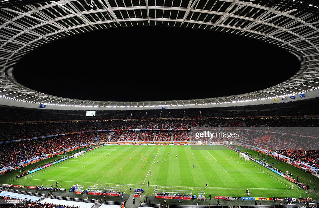 A general view of the stadium during the 2010 FIFA World Cup South Africa Semi Final match between Uruguay and the Netherlands at Green Point Stadium...