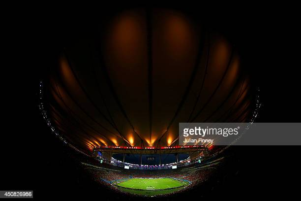 A general view of the stadium during the 2014 FIFA World Cup Brazil Group B match between Spain and Chile at Maracana on June 18 2014 in Rio de...