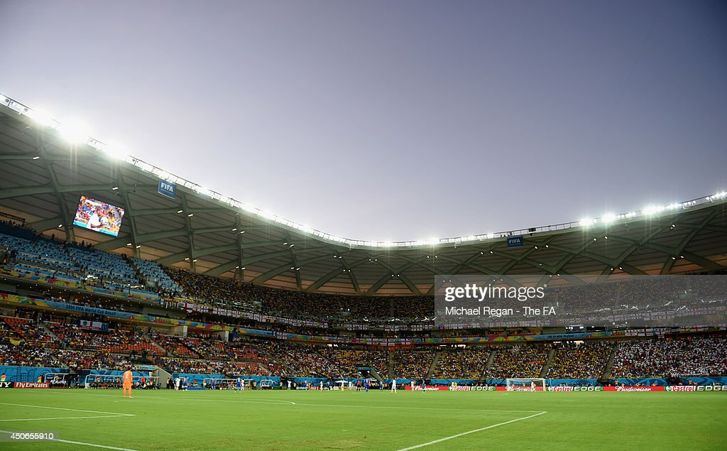 A general view of the stadium during the 2014 FIFA World Cup Brazil Group D match between England and Italy at Arena Amazonia on June 14, 2014 in Manaus, Brazil.